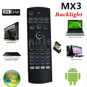 android air sensor großhandel-2 G MX3 X8 Backlit Fly Air Mouse Wireless Game Keyboard Remote Controller mit Bewegungssensor für Smart TV Android TV Box X96 Mate H96
