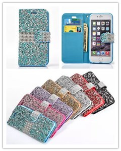Wholesale For iPhone Galaxy ON5 Wallet Diamond Case iPhone s Plus Case LG K7 Stylo Bling Bling Case Crystal PU Leather Card Slot