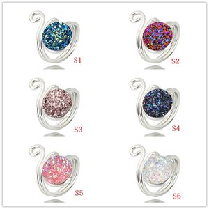 Wholesale Fashion Resin Druzy Drusy Open Ring Gold Silver Plated Colors Imitation Lava Stone Finger Rings Woman Jewelry