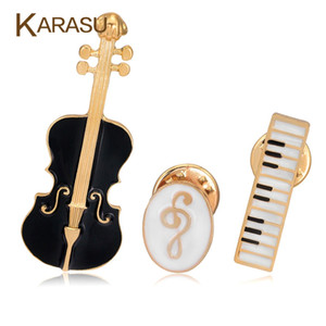 Wholesale Set Luxury Gold Plated Brooches For Women Black Violin White Piano Note Brooch Pins Fashion Jewelry Accessories Gifts