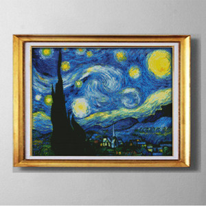 The Starry Night of Van Gogh , Europe style Cross Stitch Needlework Sets Embroidery kits paintings counted printed on canvas DMC 14CT  11CT
