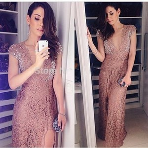 Sexy Deep V Neck Lace Split Evening Dresses Cap Sleeve Floor Length Beaded Prom Dressess 2017 New Special Occasion Party Gowns for Women on Sale