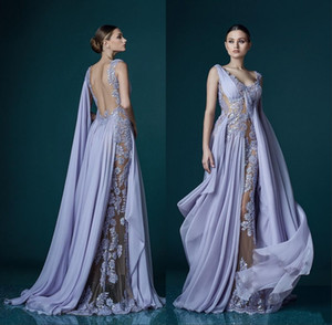 Wholesale 2018 Deep V-neck Lavender Evening Dresses With Wrap Appliques Sheer Backless Stunning Chiffon Celebrity Gowns Long Prom Dress
