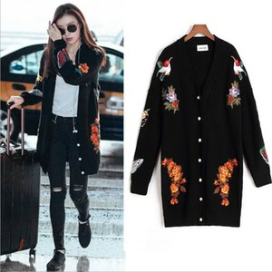 Wholesale 2018 New Arrival Black Knitted Sweater Coats Fashion Embroidery Flowers Long Sleeves Slim Women Sweater Cardigans Winter Thicke with Button