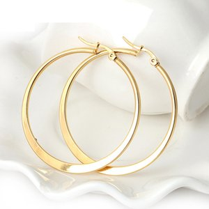 Wholesale Gold Big Hoop Earrings Stainless Steel Jewelry Trendy Pattern Circle Round Earrings For Women Gift