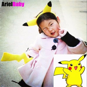 New 2pcs Pikachu Cosplay Toys Anime Cos Costume Fancy Dress Yellow Tail and Ears Hair Clasp Hoop Band for Halloween Christmas