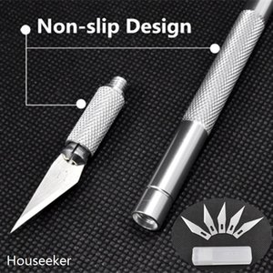 Wholesale- 6 pcs Blades Non-Slip Metal Graver Scalpel Knife Carving Tools Kit detachable Blade folding Cutter Engraving Craft knives