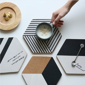 Wholesale Simple Black White Hexagonal Wood Drink Coaster Coffee Cup Mat Tea Pad Dining Fashion Soft Wooden Placemats Decoration Accessories
