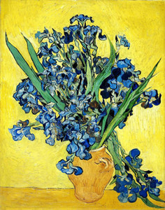 Spray Printing Van Gogh Oil Paint Vase with Irises yellow background