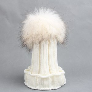 Wholesale 30Pcs Unisex Children knitted beanie hats with big fur ball CM winter warm Crochet caps for years old kids