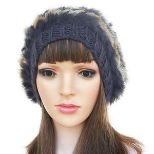 Womens Winter Rabbit Fur Knit Crochet Retro Stylish Beanie Pom Pom Hat Ear Muffs Cap A234