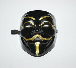 Wholesale Black V Mask Adult Mens Anonymous Halloween V Vendetta Movie Black Costume Mask Guy Fawkes Anonymous Halloween Party Cosplay B