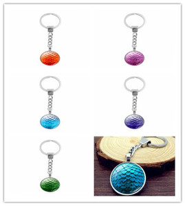 10pcs Game of Thrones Movie Jewelry Keychain Ring Dragon Eggs Glass Dome Cabochon Key Chain Pendant Women Gift