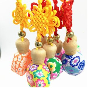 Wholesale 10 ML half a pack of clay Chinese knot car pendant perfume bottle glass boutique car pendant fast shipping F20171847