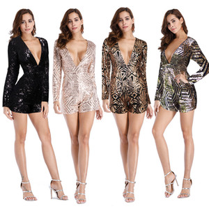 Wholesale Sexy Backless Sequined Jumpsuit Romper Deep V Neck Long Sleeve One Piece Shorts Ladies Gold Black Party Club Jumpsuits Bodysuit ZSJG1106