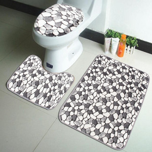 3PCS Coral Velvet Pebble Pattern Bathroom Mats Rugs Set Non-slip Washable Floor Carpet Bath Mat Pedestal Toilet Rug Kits