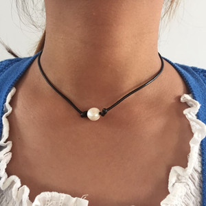 Free Shipping Simple Dark Brown Genuine Leather Fresh Water Pearl Choker High Quality Necklace, New Sweet Simple Necklace
