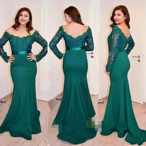 2017 Dark Green Bateau Lace Long Sleeve Mermaid Evening Dress With Slim Sash Sexy Open Back Sweep Train Prom Party Gown on Sale
