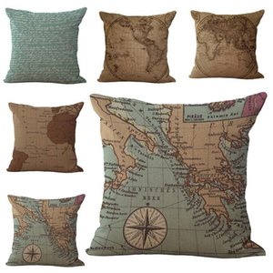 Wholesale Sailing World Map Traveler Pillow Case Cushion cover Linen Cotton Throw Pillowcases sofa Bed Car Decorative Pillow covers drop ship