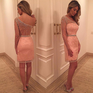 Blush one-shoulder Long Sleeve Short Evening Party Dresses Sparkly Beaded See Through Knee-length Sheath Prom Occasion Dress on Sale