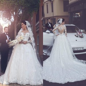 Wholesale 2017 Elegant Appliques D Flora Lace Wedding Dresses Said Mhumad Vintage Long Sleeves Bridal Gowns Arabic Sheer Jewel Neck BA4790