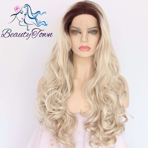 "100% Brand New High Quality Fashion Picture full lace wigs>> 24""Brown Root Ombre Blonde Long Curly Glueless Synthetic Lace Front Wig"