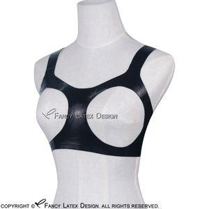 Black Sexy Latex Bra Open Bust Fetish Rubber Bras Lingerie brassieres Unisex Hot Sales New BRA-0004