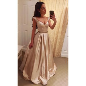 Wholesale Simple A Line Formal Evening Dresses Sexy Deep V Neck Prom Gowns Dress for Party Wear DTJ