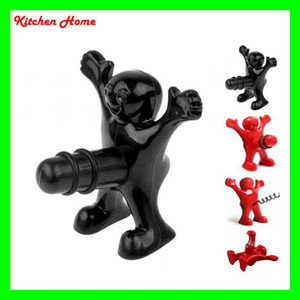 Wholesale Funny Happy Man Design Wine Stoppers Mini Beer Bottle Openers Wine Cockscrew Kitchen Bar Creative Wine Beer Openers Plugs Red Black Colors