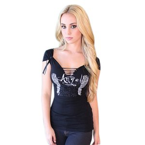 Wholesale- Feitong Women's Sexy T shirt Back Hollow Angel Wings T-shirt Tops Summer Style Woman Lace Short Sleeve Tops T shirts Clothing
