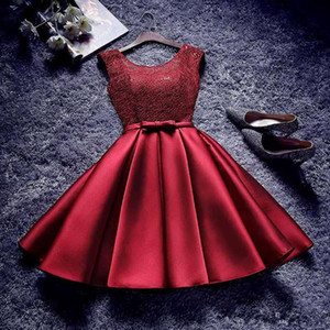 2017 Cheap Champagne Burgundy Silver Satin Short Bridesmaid Dresses Dollars Lace Cap Sleeves Maid of Honor Cocktail Party Dress under 50