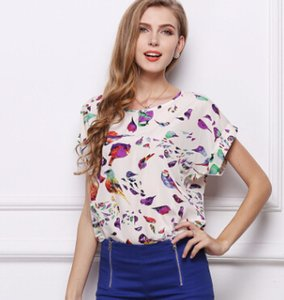 Wholesale Plus size loose printed birds tops and tees women t shirts short sleeve chiffion t shirts printing lipls heart striped geometric tees