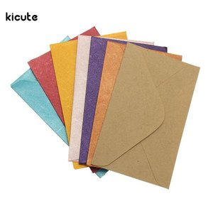 Wholesale 50Pcs Vintage Retro Small Colored Blank Mini Paper Envelopes Wedding Party Invitation Envelope Greeting Cards Gift Envelope