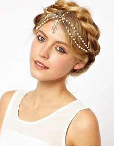 Wholesale 2020 Cheap fashion hairband headwear headbands indian Bohemian boho white red beaded headpiece women head chain hair jewelry for wedding