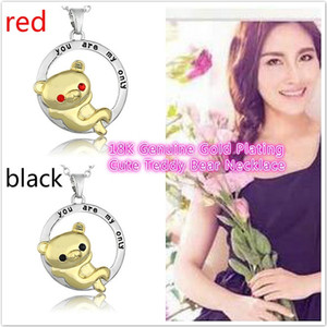 Wholesale Luxury Fashion Couple heart shaped K Genuine Gold Plating Cute Teddy Bear Necklace Pendant Birthday Christmas Gift
