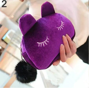 Wholesale Cute Portable Cartoon Cat Coin Storage Case Travel Makeup Flannel Pouch Cosmetic Bag Korean and Japan Style