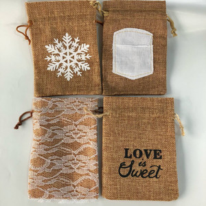 Pack of 20 Retro Linen Burlap Pouch Jute Bag Drawstring Gift Wrap - Snowflake, Love is Sweet, Floral Lace, Sewn Writing Fabric, 5.5 * 4 Inch