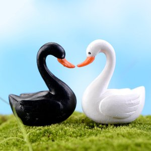 Wholesale White Black Swan Garden Decorations Miniature Craft Doll House Ornament Miniature Figurine Plant Pot Fairy Garden Decor