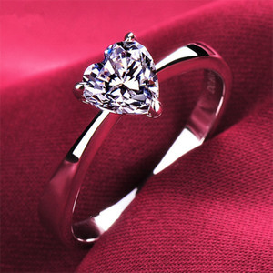Wholesale ring sterling silver for sale - Group buy Quality Heart Shape ct Confessions SONA Synthetic Diamond Ring For Women Wedding Sterling Silver Jewelry Fine Platinum Plated