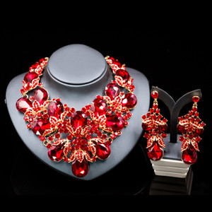 NF08DY 9colors Marquise Rhinestone Bridal Wedding Jewelry Sets Women Party Necklace earrings set Crystal Unique necklace