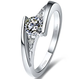 Wholesale 1 ct Star twinkle synthetic diamond rings sterling silver rings plated K white gold semi mount ring settings infinity ring