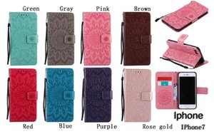 Sunflower Wallet Flip Leather Pouch Strap ID Card Stand TPU Cover Case for iphone 7 plus 6S PLUS 5S ipod touch5 6