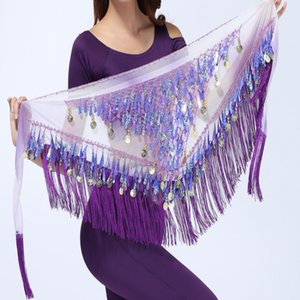 Wholesale 2017 Chiffon Coins Tassels Sequins Triangle Hip Scarf Skirt Belly Dance Costume