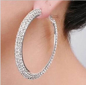 Wholesale Silver Plating Hoop Earrings Silver Color Czech Diamond Big Hoop Earrings Basketball Wives Earrings Good Quality Fashion Jewelry For Women