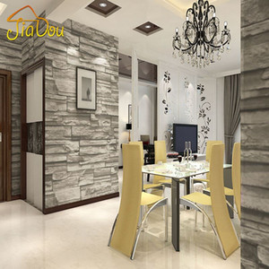 Chinese Style Dining Room Wallpaper Modern 3D Stone Brick Design Background Vinyl Wall Paper For Kitchen Livingroom Wallcovering on Sale