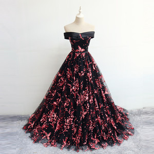 2018 New Design Off the Shoulder Prom Dresses Evening Gown Flower Pattern Ball Gown Party Quinceanera Dresses on Sale