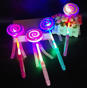 Wholesale Lighting up flashing Lollipop wand LED glow stick Funny Halloween Christmas Hen Club Party Accessory kids girl fancy dress props bag filler