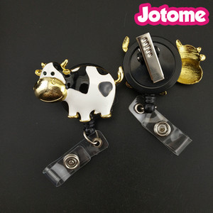 Wholesale 50PCS Dairy Milk Cow White Black Enamel Animal Pendant Nurse Medical Gift Retractable ID Name Badge Reel Holder