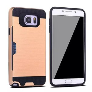 Wholesale Brushed Card Slot Holder Armor Hybrid Case For Samsung Galaxy A3 A5 A7 J3 J7 J5 J2 Prime Luxury PC Hard Shockproof Phone Cover