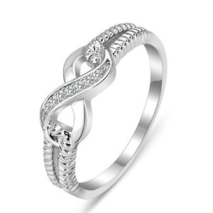 Wholesale infinity stones resale online - high quality Cz Stones Rings genuine sterling silver Sisters infinite finger ring infinity symbol micro pave Women Jewelry